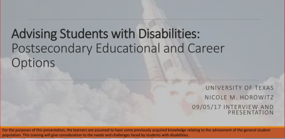 Advising Students with Disabilities: Postsecondary Educational and Career Options